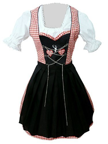 Di04 Mini Dirndl, 3 teiliges Trachtenkleid in rot weiß, Kleid mit Bluse und Schürze, Rocklänge 47-56 cm, Gr. 42