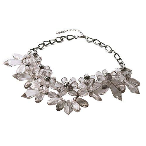 TQS™ Declaración Gris Cristal Flor Lucite collar del collar babero
