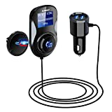 ELEGIANT Bluetooth FM Transmitter, FM Adapter Empfänger KFZ Auto Radio Adapter Auto MP3 Player Bluetooth Adapter Radio Transmitter mit Mikrofon+2 USB Port+ magnetisch Halter+TF-Karte unterstützen