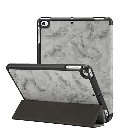 Jctek iPad Mini 5 Hülle 2019 mit Stifthalter, Premium Trifold Case mit Auto Sleep/Wake Funktion, Ultra Slim TPU Back Cover für Apple iPad Mini 5. Generation Dark Grey Marble 7.9 inch - Mini Tri Fold Wallet