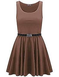 Damen Kleid mit Gürtel Ärmellos Ausgestellt Party Skater Kleid