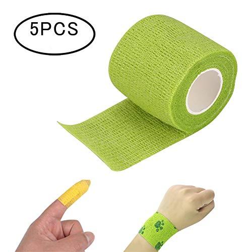 5 Rollen Selbsthaftende Bandage Tattoo Sport Strapping Tape mit überlegener Wasserfest Elastische Haftung, 4.5cm x 5m(Grün)