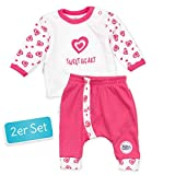 Baby Sweets Baby Set Hose + Shirt Mädchen weiß pink | Motiv: Sweet Heart | Marke Babyset 2 Teile mit Herzmotiv für Neugeborene & Kleinkinder | Größe: 3 Monate (62)