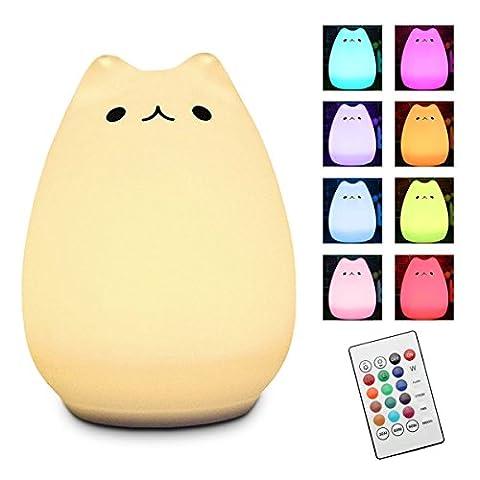 LED Nachtlicht, Elfeland ® Silikon Katze Nachtlichter mit Multifunktionaler Fernbedienung ( 12+1 Beleuchtungen, 6 Lichtmodi, 3- Heiligkeit ) für Baby Kinder Erwachsene Schlafzimmer Wohnzimmer Camping Geschenk - Kätzchen (Gute Freundin Geschenke)