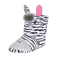 Kids Novelty Zebra Slippers 3D Details Print Booties Plush Cosy UK Size 11/12