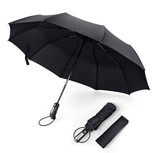 FYLINA Regenschirm Taschenschirm Groß mit 10 Edelstahl-Rippen Winddicht Kompakt Leicht Stabiler Schirm Voll-automatischer Auf-Zu-Automatik Transportabel Reiseschirm für Frauen und Männer(Schwarz)