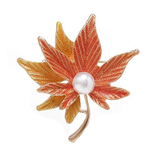 CAOLATOR.Damen Brosche Vintage Ahornblatt Broschen mit Perle, Elegant Blätter Anstecknadeln Brooch Pin Broschennadeln für Kleidung Schal Rucksack