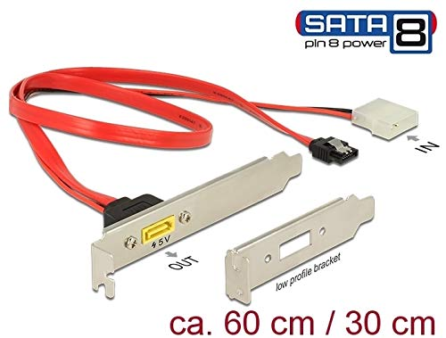 DeLock Slotblech SATA 6 Gb/s 7 Pin Buchse + Molex 2 Pin Strom Stecker intern an SATA Stecker Pin 8 Power extern, [84949]