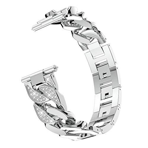 BZLine® Für Fitbit Versa Armband, Luxus Einreihige Cowboy Kette Metall Kristall Handgelenk Ersatzband Armbänder für Fitbit Versa Health & Fitness Smartwatch (Silber)