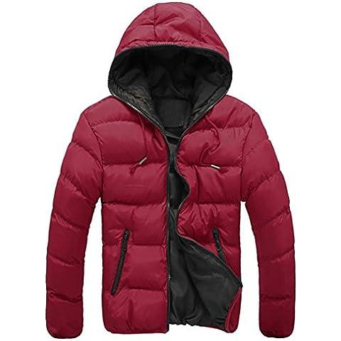Koly Gruesos de invierno Slim Casual caliente de los hombres con capucha chaqueta (finales de otoño y principios de invierno) (Rojo,