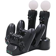 Aresh for PS Move Controller Charger / PS4 Controller Charger, Charging Dock Station for PlayStation 4 Controllers + PS4 / PSVR Move Motion Controllers with LED charge indicator