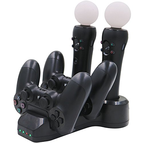 Aresh PSVR Move Controller / PS4 Controller Ladestation + LED Ladegerät Ladeständer für PlayStation VR PlayStation 4 Controller