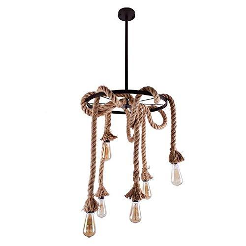 PLXT 6-Lights Holz Kreis Kronleuchter Retro Rustikale Anhänger Beleuchtung Lampe Mehrere Einstellbare Hängende Decke Lineare Leuchten für Küche Insel Wohnzimmer Bar