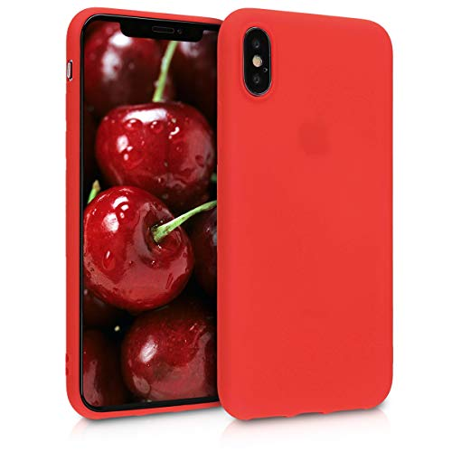 Kwmobile apple iphone x cover - custodia per apple iphone x in silicone tpu - backcover protezione rosso fluo