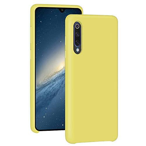 Funda para Xiaomi Mi 9/Mi 9 SE Teléfono Móvil Silicona Liquida Bumper Case y Flexible Scratchproof Ultra Slim Anti-Rasguño Protectora Caso (Yellow, Xiaomi Mi 9 SE)