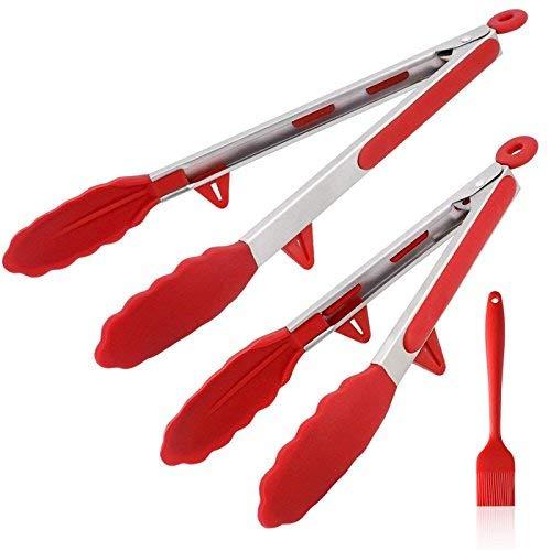 """AhaSky Mehrzweckzange/Kitchen Grillzange/Küchenzange, 2er Set Zange aus Hochwertigem Edelstahl und Hitzebeständigem Lebensmittelqualität Silikon (12\""""-30.5cm&14\""""-35.5cm) mit Silikon-Backpinsel (Rot)"""