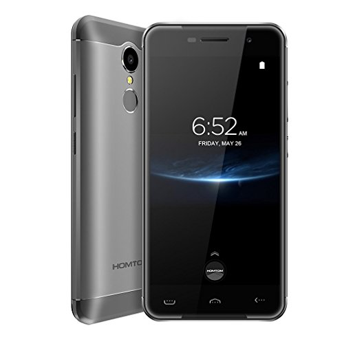 HOMTOM HT37 Pro 4G LTE Smartphone Ohne Vertrag 5.0 Zoll 2.5D Android 7.0 Doppelte Lautsprecher & Atmungslicht Quad Core Dual SIM 3GB RAM+32GB ROM 13MP+8MP Fingerabdrucksensor(Grau)