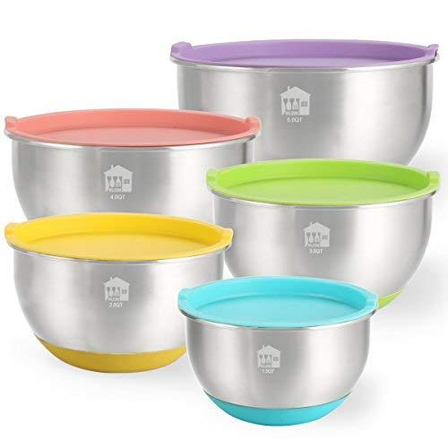 Mischen Schalen Set von 5, wildone Edelstahl Rührschüsseln mit Deckel, rutschfester Silikon Boden, Nistkasten für Mixen und schlagen, stapelbar (1,5, 2.0, 3.0, 4.0, 5.0QT) - 5 Quart-schalen