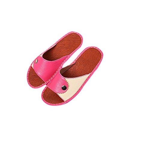 Galleria fotografica TELLW Solid Color Velluto Corallo Ispessimento Caldo Pavimento in Legno Pantofole Invernali e Pantofole da Donna e da Uomo all'aperto di Cotone