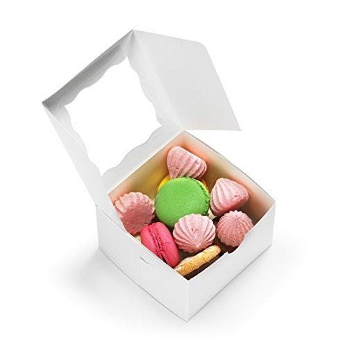 n mit Fenster 10,2x 10,2x 6,3cm süßen Gebäck Dosen für Cupcakes, Hochzeit Kuchen/Baby Dusche/Partyzubehör, Valentinstag Desserts, Cookies ()