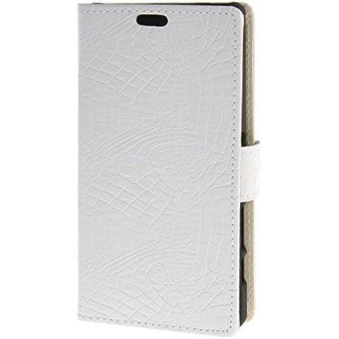 MOONCASE Case per Sony Xperia Z5 Compact (Z5 Mini) modello del serpente Leather Custodia in pelle Flip Case Protettiva Portafoglio Cover Bianco 02