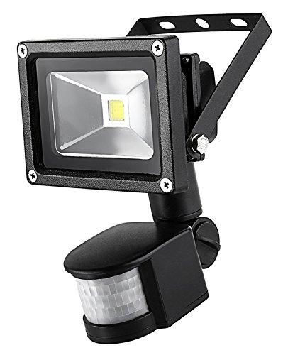 Sourcing4U X1-10W-FL-BL-C-PIR 10 W LED-Strahler mit Pir-Sensor, schwarz/kaltweiß