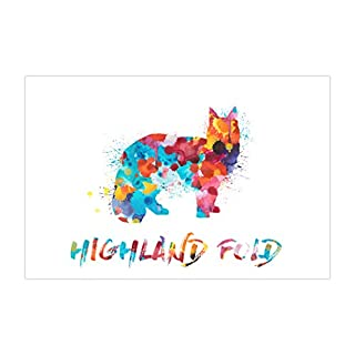 ArtsyCanvas Highland Fold Watercolor Splatter Art (Poster), 36 x 24