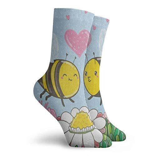 FunnyStar Socken Cartoon Heart Bee Floral Print Butterfly Designer Männer Frauen Stocking Accessory Sock Clearance für Mädchen - Größe 39-45 - Size 6-11