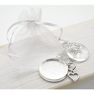 2er Set DIY Halskette Cabochon Rohlinge Fassung 33mm rund Schmuck basteln silber Kette selberbasteln