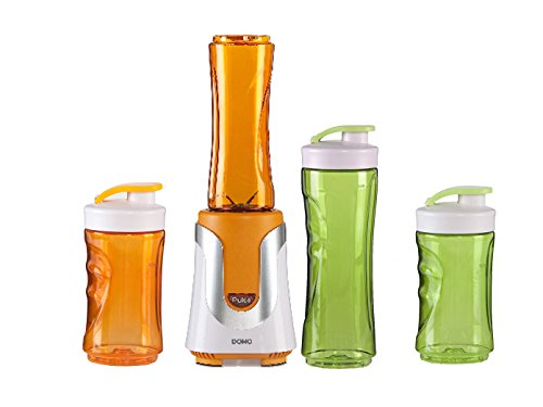 Family Smoothie-Maker 300W Orange, 4 Flaschen (300ml & 600ml je 2 in Orange & Grün)