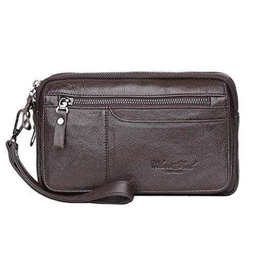 Wristlet Clutch Geldbörse für Herren Frauen Handyhalter Wristlet Coin Money Pouch Business Handtasche mit Mehreren Fächern für iPhone X/8/8 Plus/ 7/7 Plus/6 Kaffee ()