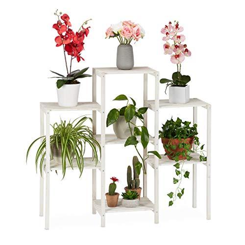 Relaxdays Blumenregal Holz, 7 Ablagen f. Pflanzen, dekorative Blumentreppe f. Indoor, stehend, 86,5 x 95 x 29,5 cm, weiß