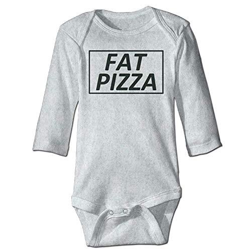 MSGDF Unisex Toddler Bodysuits Fat Pizza Funny Humor Girls Babysuit Long Sleeve Jumpsuit Sunsuit Outfit Ash