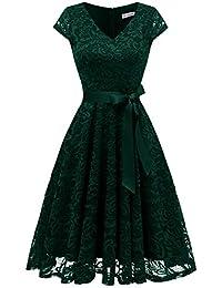 Berylove Damen V-Ausschnitt Kurz Brautjungfer Kleid Cocktail Party Floral Kleid BLP7006DarkGreenXL
