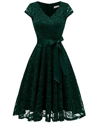 Berylove Damen V-Ausschnitt Kurz Brautjungfer Kleid Cocktail Party Floral Kleid BLP7006DarkGreenXS A-linie Cocktail-kleid