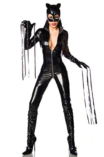 Outfit Sexy Catwoman (Schwarzes sexy Wetlook Catwoman Outfit Overall mit Handschuhen und Maske Rundumreißverschluss)