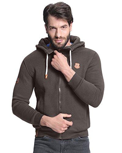 StyleDome Uomo Felpa con Cappuccio Maglione Maglia Manica Lunga Casual Sportiva Cotone Tasche Marrone