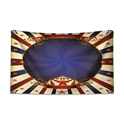 ABAKUHAUS Jahrgang Wandteppich und Tagesdecke, Zirkus-Poster-Bild aus Weiches Mikrofaser Stoff Kein Verblassen Klare Farben Waschbar, 230 x 140 cm, Hellgelb Marineblau Rot