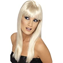 Smiffys Women's Long and Straight Blonde Wig with Bangs, One Size, Glamourama Wig, 5020570421543
