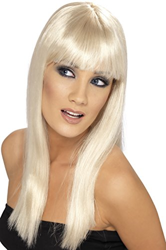 Smiffys Women's Long and Straight Blonde Wig with Bangs.