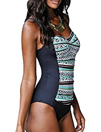 e4398030a4 Happy Sailed Womens Multicolored Tribal Print 1 Piece Swimsuit