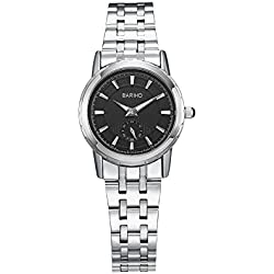 HongBoom Luxury Genuine Stainless Steel Band Wrist Watch 30m Waterproof Women's Casual Business Analogue Quartz Wristwatch