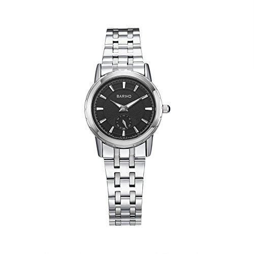 iWatch Damen Armbanduhr Analog Quarz 30M Wasserdicht Partner Uhr Modisch Zeitloses Design Edelstahl Armband mit Schwarz Zifferblatt Silber