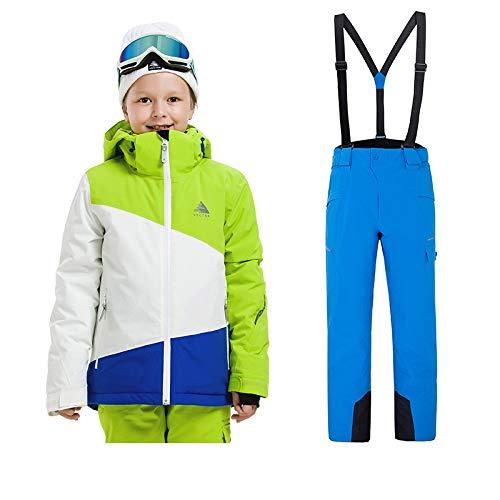 Sunbaby Skianzug Kinder Jacken und Hosen Winter Ski Set Winddicht wasserdicht Skianzüge (Junge Grün+Blau, 120/6 Jahre) | 00749693820273