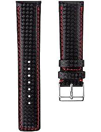 Correa del reloj Geckota® D-1 Fibra de Carbón, Negro, Rojo, 22mm