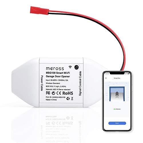Apriporta Garage Intelligente Wifi Door Opener Compatibile con Amazon Alexa/Google Assistent/IFTT, Controllo Remoto e Vocale, Nessun Hub Richiesto, Meross MSG100