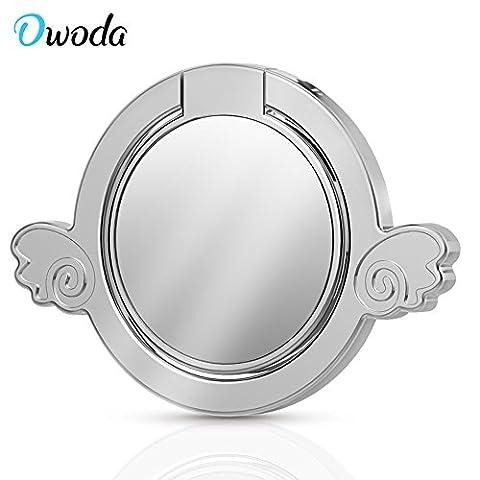 Owoda Romantische Herz Kristall Telefon Ring Stand Halter 360 Grad Rotierende Ring Griff Handy und Tabletten Anti Drop Ring Für iPhone iPad Samsung Nexus (Spiegel Engel-Silber)