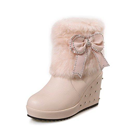 AgooLar Damen Niedriger Absatz Eingelegt Rund Zehe Ziehen auf Stiefel mit Schnalle, Pink, 35