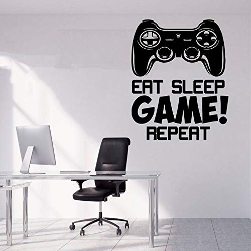 HNXDP Eat Sleep Spiel Wiederholen Wandaufkleber Quote Vinyl Wohnkultur Teens Room Playroom Abziehbilder Removable Game Controller Tapete Gelb 57X71 CM - Reich Henna