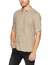 c33daaa2cfd4fa Jack   Jones Men s Solid Slim Fit Linen Casual Shirt (1968084012 Tan Medium)